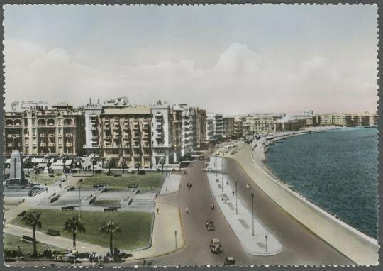 alexandria - hotel cecil and corniche (postcard, c1930s)
