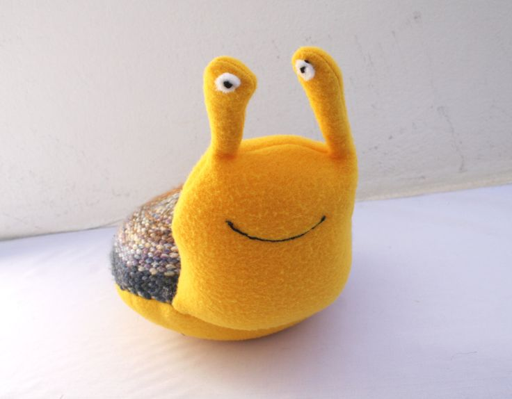 Handwoven snail, pillow, plush,softies by ERGANIweaving on Etsy