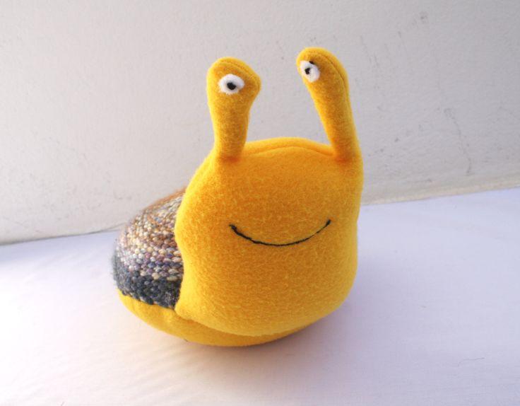 Handwoven snail, pillow, plush,softies by ERGANIweaving on Etsy