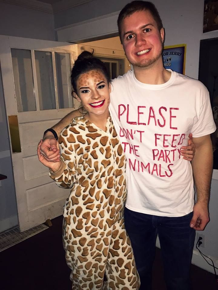 giraffe; please don't feed the party animals; halloween couple costume; makeup; zoo theme party; college