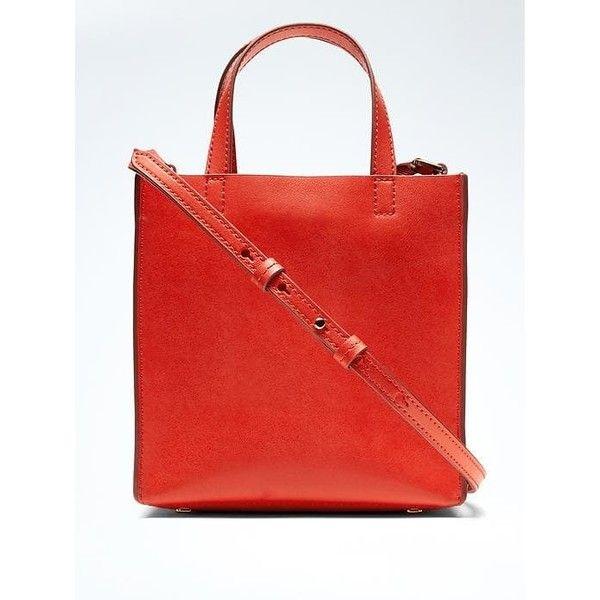 Banana Republic Mini Portfolio Leather Tote ($98) ❤ liked on Polyvore featuring bags, handbags, tote bags, red, metallic tote bag, handbags totes, leather handbags, red leather tote and red leather handbags