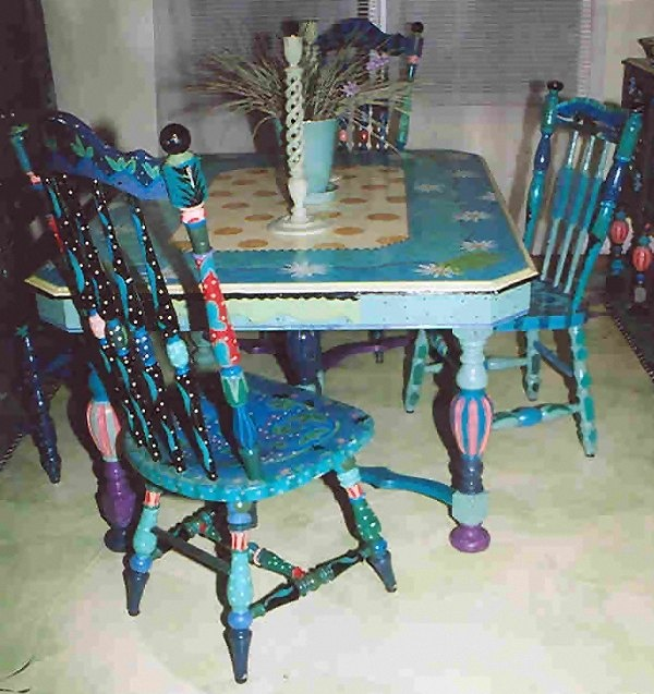 Hand Painted Dining Table And Chairs By Wright Originals Of Southern Pines Nc