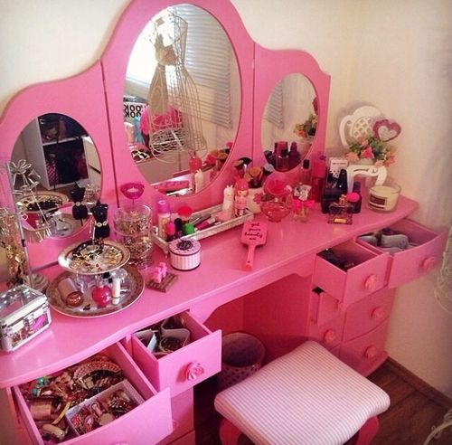 Pink Makeup And Girly Image Makeup Vanity Decor Pink Vanity