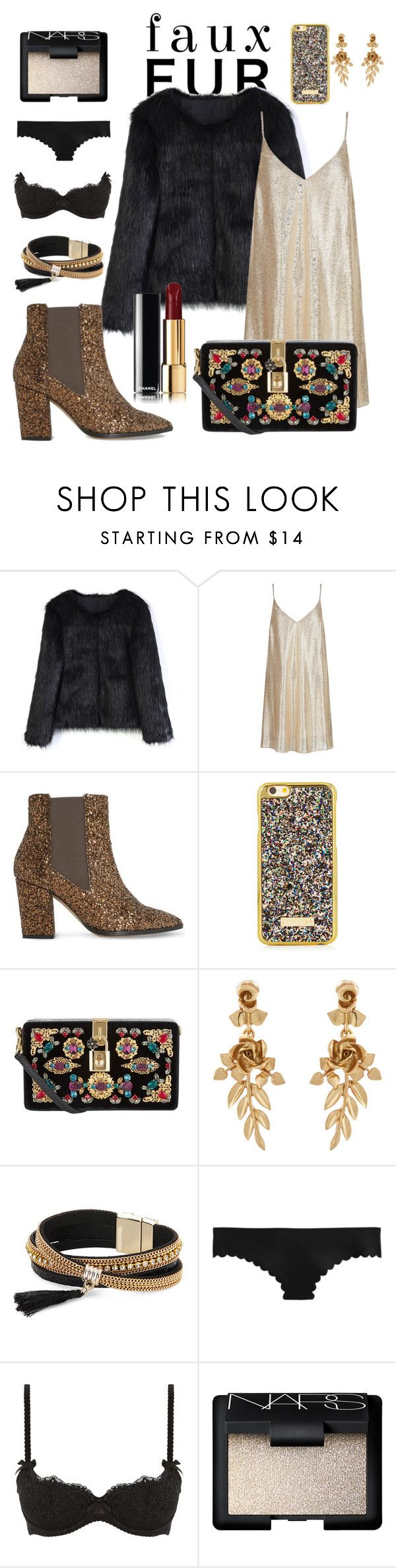 """Faux fur 2"" by pcayetan ❤ liked on Polyvore featuring Chicwish, New Look, Dune, Dolce&Gabbana, Oscar de la Renta, Simons, J.Crew, L'Agent By Agent Provocateur and NARS Cosmetics"