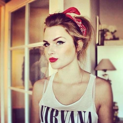 hair. makeup. bandana.
