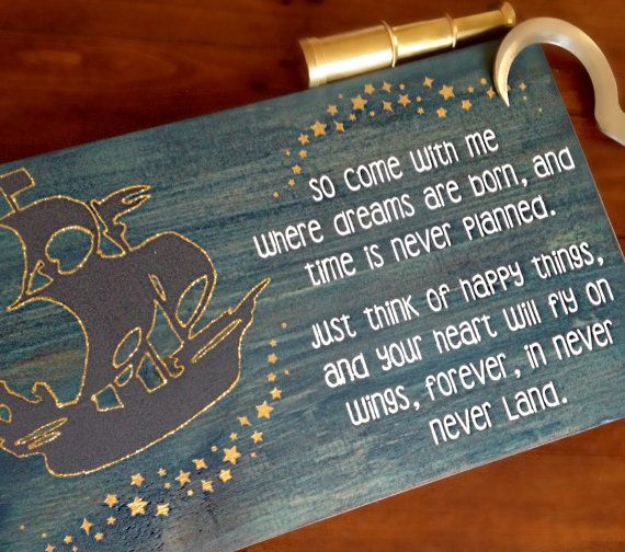 Peter Pan Inspired Pirate Ship Sign  This piece is amazing for a boys pirate themed room or nautical home. The dark pirate ship outlined in gold glitter…