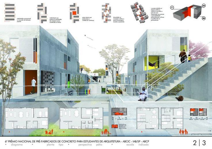 2 Lugar Concurso Prefabricados para Estudiantes: Conjunto Habitacional Jardin Nuevo Marilda | Plataforma Arquitectura