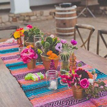 Love This Look For My Patio Table: Mexican Table Runner, Simple Mason Jars  With Tealights, Cactus Plants. This Makes Me Want To Have A Cinco De Mayo  Party!