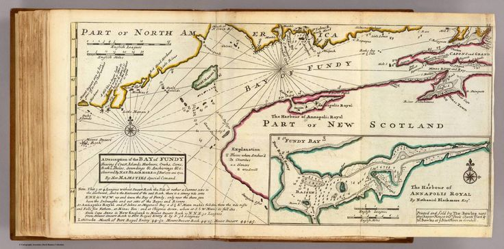 Bay of Fundy and Harbour of Annapolis Royal (as observed by Nathaniel Blackmore in 1711-1712) by Herman Moll (1732). #cdnhistory
