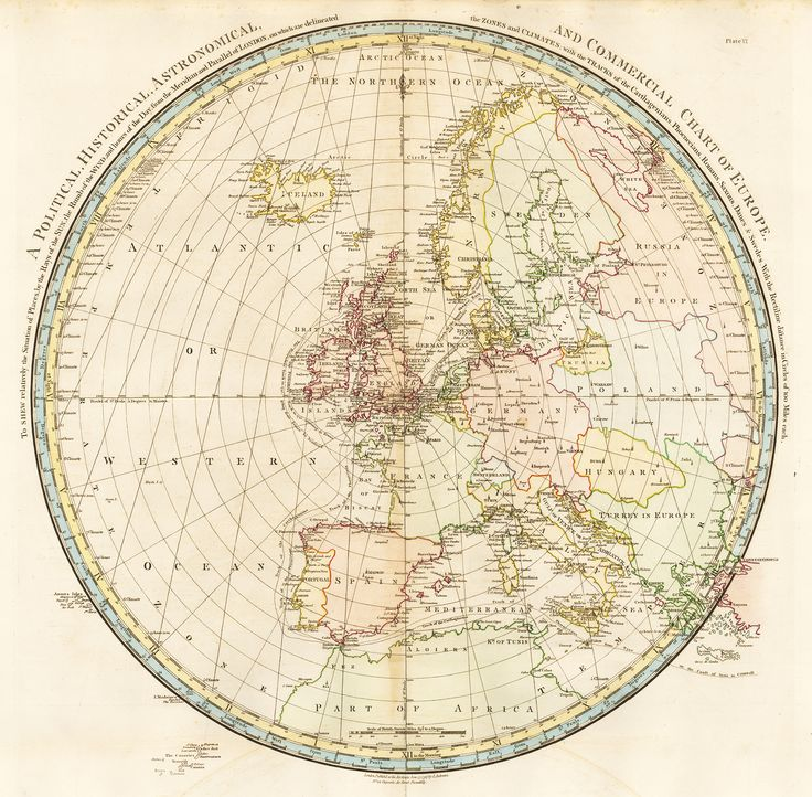 JOHN ANDREWS. Political, Historical, Astronomical and Commercial, Chart of Europe. To Shew relatively the Situation of Places by the Rays of the Sun, the Rumb of the Wind and the hours of the Day, from the Meridian to the Parallel of London, on which are delineated the Zones and Climates. 1797.