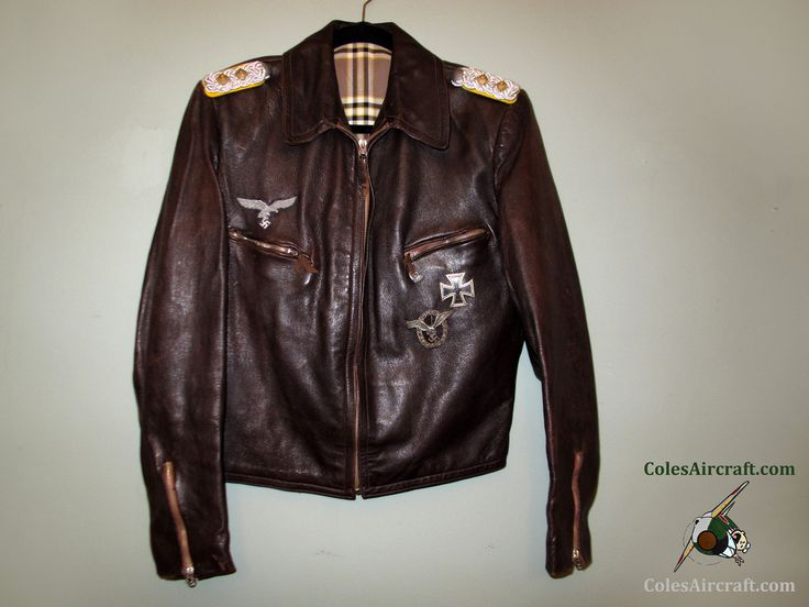 A truly special piece of aviation history: All original Luftwaffe leather jacket belonging to Oberst, with Austrian BSW pilot badge and Iron Cross 1st Class. Description from flickriver.com. I searched for this on bing.com/images