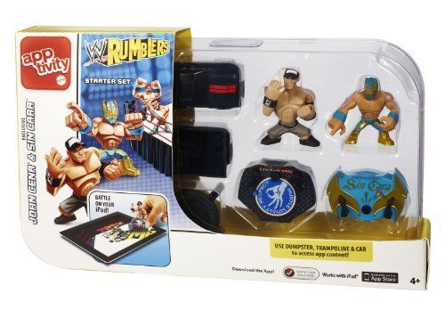 WWE Rumblers Apptivity Starter Pack Assortment by Mattel. $9.50. From the Manufacturer                Apptivity WWE Rumblers Starter Set: The Apptivity WWE Rumblers game play brings to life the WWE fighting ring, where the player is actually in the ring battling it out against the virtual opponent. The Starter Set includes one premium decorated John Cena character, an exclusive Sin Cara WWE Rumblers each with a removable Apptivity base, and three accessories: a truck, ...