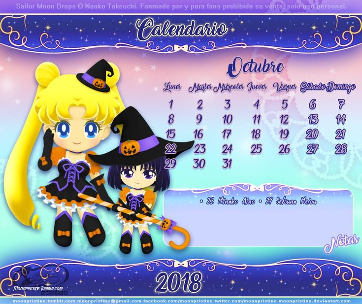 Sailor Moon Drops Calendario Octubre by moonpristine
