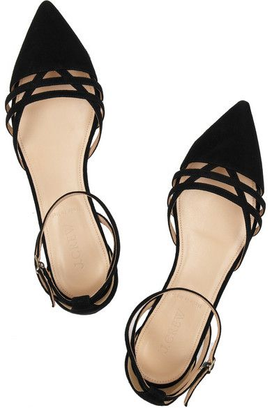 Slight heel Black suede Crossover straps, pointed toe Buckle-fastening ankle strap