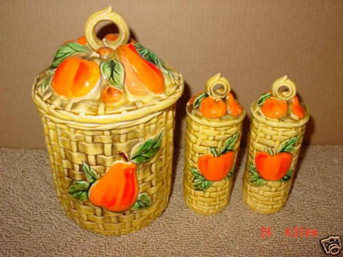 Vintage,Lefton,Canister,Shakers,Fruit,Basket Weave,Old   Pottery & Glass, Pottery & China, China & Dinnerware   eBay!
