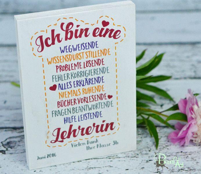 Deko-Objekte - Lehrerin Geschenk Holztafel Holzschild Abschied - ein Designerstück von BauchArt bei DaWanda