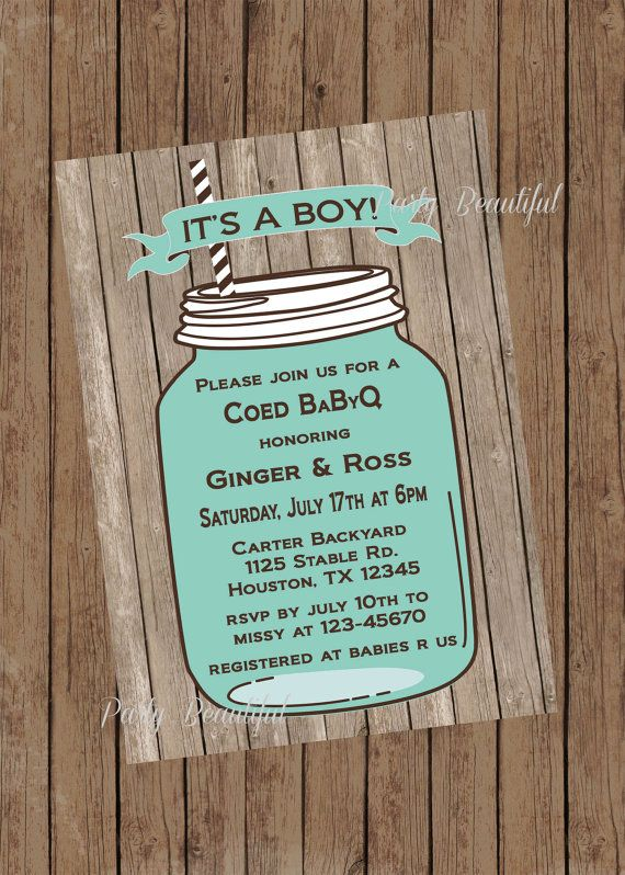 BBQ Boy Baby Shower Invitation-Printable,BabyQ, Rustic, Mason Jar, Blue-$14