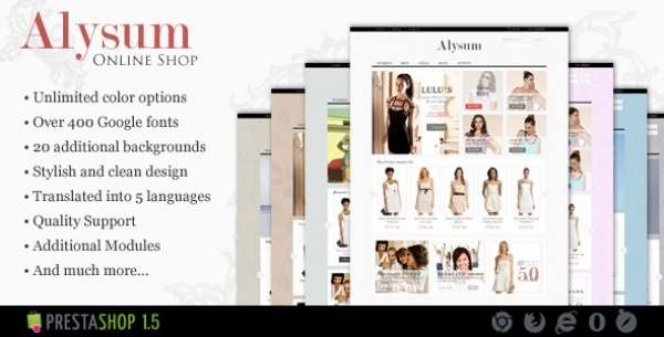 """Alysum"" – is a great solution for small and medium businesses. Due to compact, modern and stylish design as well as ""Theme settings module"" embedded tool, you can create your own style for your e-shop. It will take less than one minute to start!"