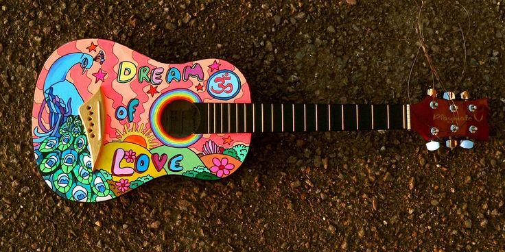 Guitare Peinte, Hippie, Musique, Dessin Animé, Lecteur