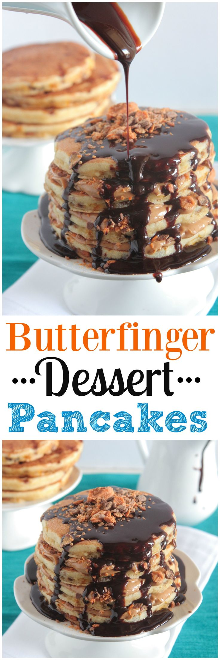 Butterfinger Dessert Pancakes! Gorgeous and delicious!