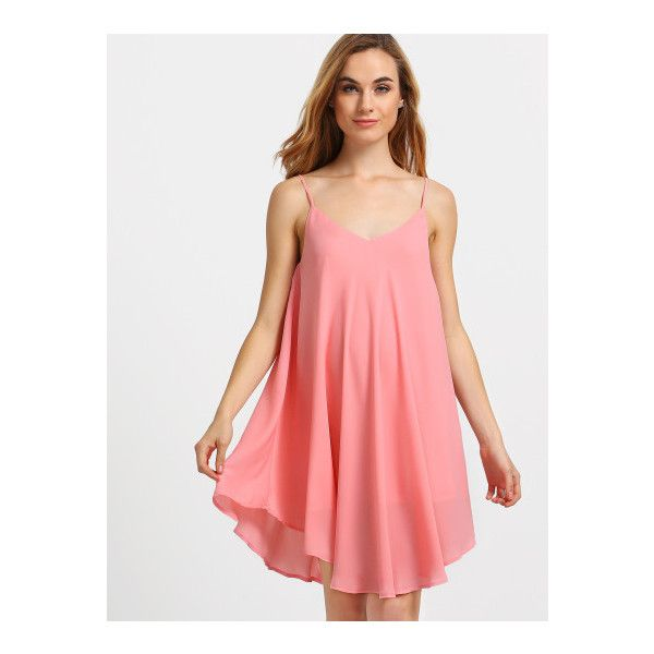 SheIn(sheinside) Pink Spaghetti Strap Asymmetrical Shift Dress... ($14) ❤ liked on Polyvore featuring dresses, pink, short sundresses, short pink dress, short red dress, sleeveless shift dress and red shift dress