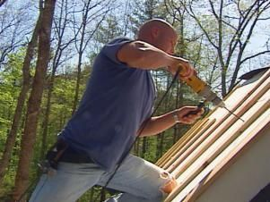 DIY experts demonstrate how to install a metal roof, which helps conserve energy by reflecting heat in the summer, saving owners up to 40 percent on energy costs and making for a more eco-friendly building practice.