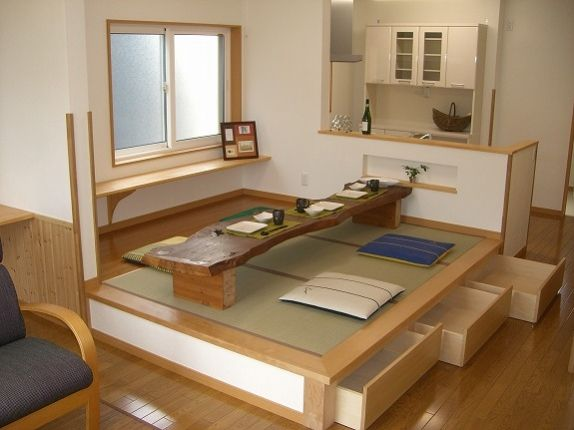 traditional Japanese dining - with storage! I love old-style Japanese house design. So sensible, as well as health and eco-conscious.