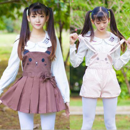 Japanese kawaii rabbit straps shorts/skirt everything is cute shorts or shirts?