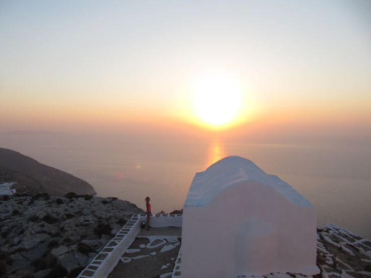 What a sunset at a chapel of Sikinos island, Greece
