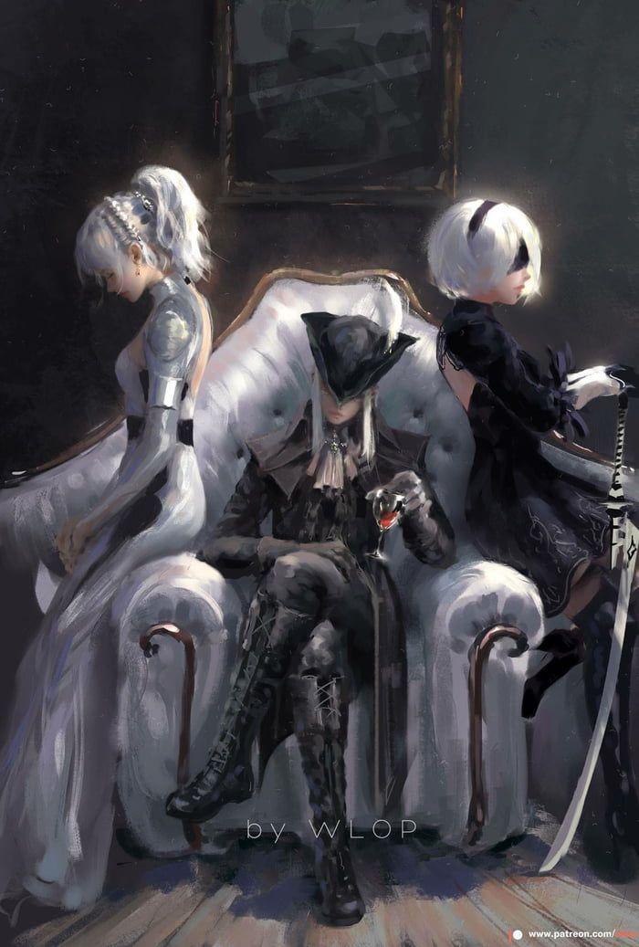 Luna Freya, Lady Maria e 2B por Wlop   – wallpaper