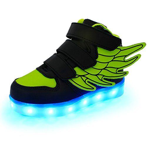 Topteck Kid Junge Mädchen USB-Lade LED leuchten Laufschuhe Blink Athletisch Turnschuhe mit Flügeln Schwarz - http://on-line-kaufen.de/topteck/34-eu-topteck-kid-junge-maedchen-usb-lade-led-blink
