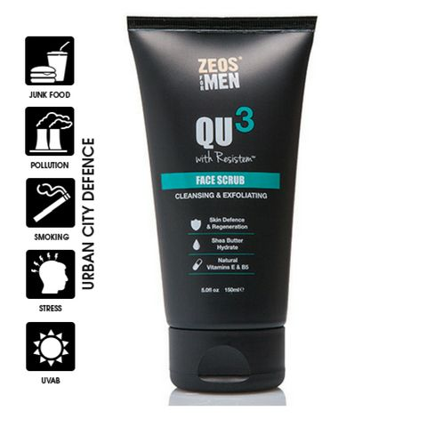 ZEOS® QU3 Facial scrub with Resistem™ and coconut husk gently exfoliates the skin, naturally removing dead cells and dirt. Providing a self-defence for the skin leaving your face feeling rejuvenated, fresh and smooth. Natural Vitamins E and B5 help you feel freshly balanced and hydrated.#skincare #zeos #qu3 #facescrub