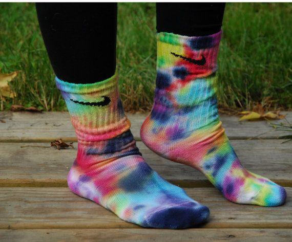 Rainbow Storm Tie Dye Nike Socks on Etsy, $14.00