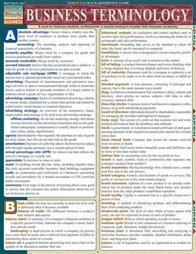 Business Terminology Laminated Reference Guide Comprehensive guide which is a must for business students, professionals or anyone looking to broaden their busin