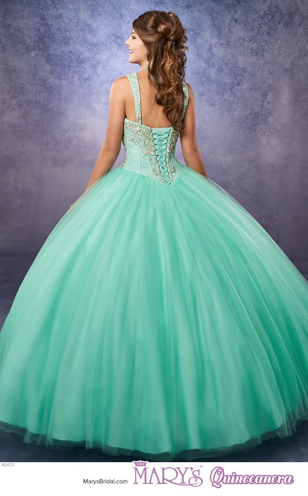 Princess style 4Q472 • Strapless tulle quinceanera ball gown with lace bodice embellished with beads and embroidery, sweetheart neck line, basque waist line, tulle skirt, lace-up back, detachable straps, and sheer bolero.