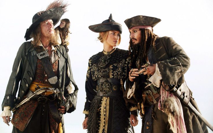 Captain Hactor Barbossa, Jack, Elizabeth Swann & Captain Jack Sparrow