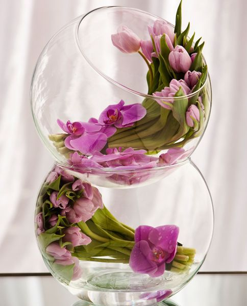 Double Bubble Bowls With Any Kind Of Flowers