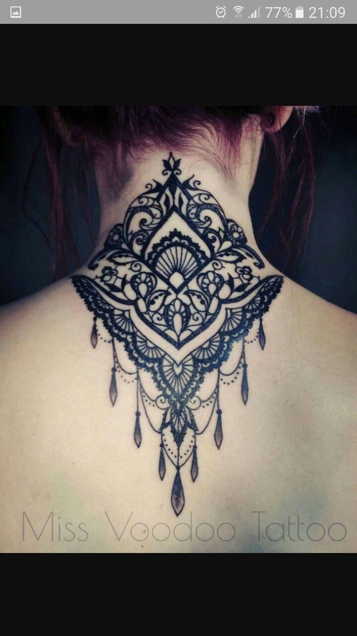 Mandala tattoo on the nape of my neck - Love The Pattern And Placement Just Not The Dangling Jewels