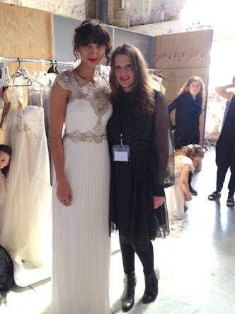 Fashion Designer Gwendolynne Burkin at One Fine Day wedding fair with model