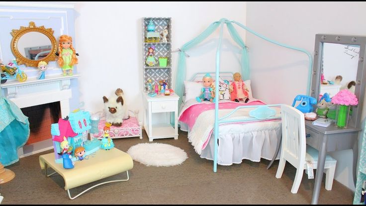 American Girl Doll Disney Frozen Elsa Room | Princess Doll House Bedroom