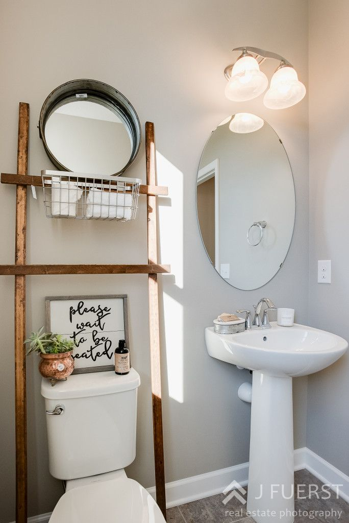 Modern Fall Farmhouse   Drum Mirror   toilet ladder   please wait to be seated sign   copper accents   bathroom decor   farmhouse bathroom  cjc@home   Carver Junk Company's Staged Home Shopping Event   Victoria, MN   Home Staging   Modern Fall Farmhouse   Fixer Upper Style   carverjunkcompany.com