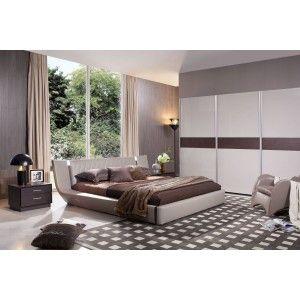 Denmark - Modern Grey Floating Bed with Lights - Modern Bedroom - Bedroom
