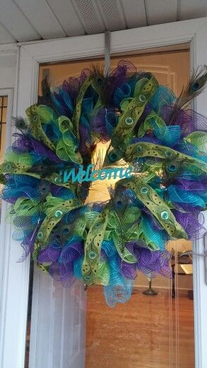 Geo Mesh peacock wreath I just finished!