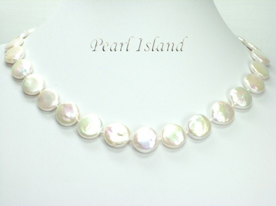 Art Deco White Coin Pearl Necklace 13-14mm: www.pearlisland.co.uk