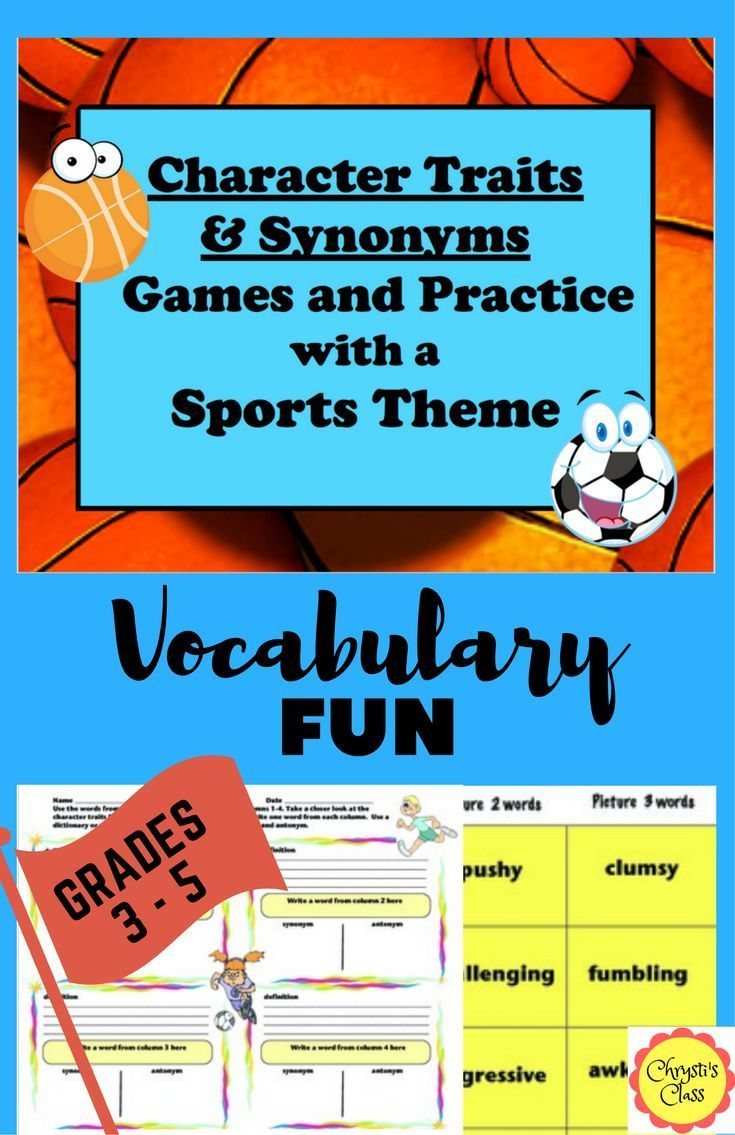 2 easy prep games, 24 character traits and synonyms (6 sets of 4 synonyms ranging from easy to challenging) to build vocabulary. Practice worksheets, word mini posters, and assessment included.  Common Core State Standards  aligned for grades 3, 4, and 5.
