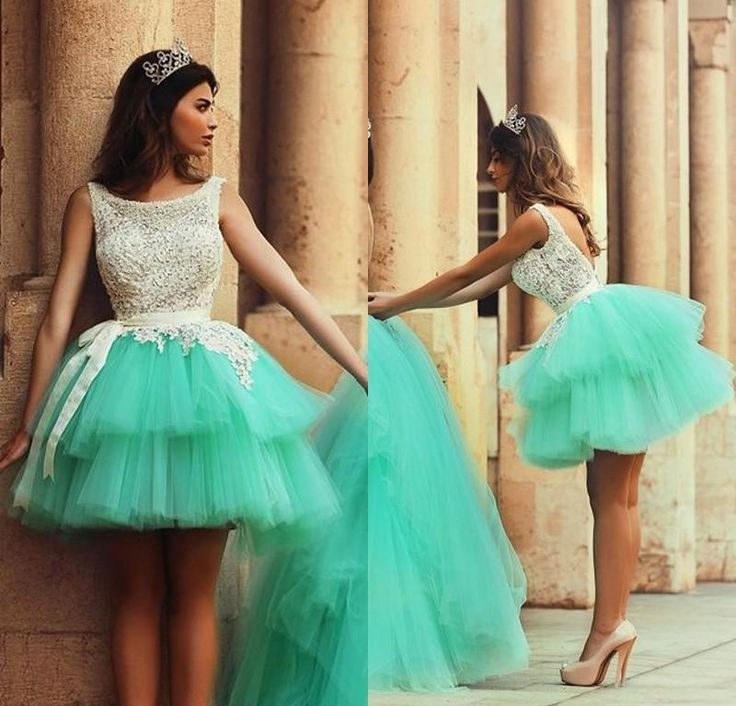 Best Selling Mint Green Graduation Dresses Tulle Lace Appliques Sexy Backless Sleeveless Scoop short homecoming dresses2015