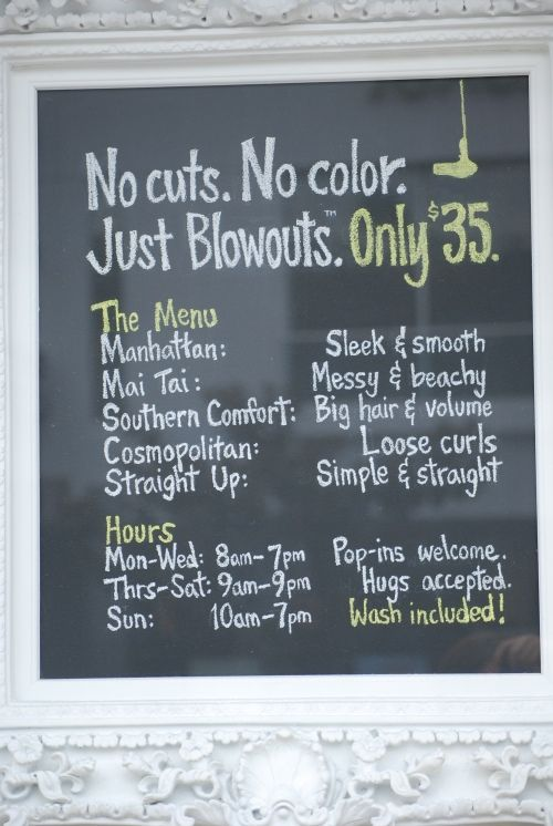 The Dry Bar - new concept in salons - only do blowout hairstyles with no cut or color!