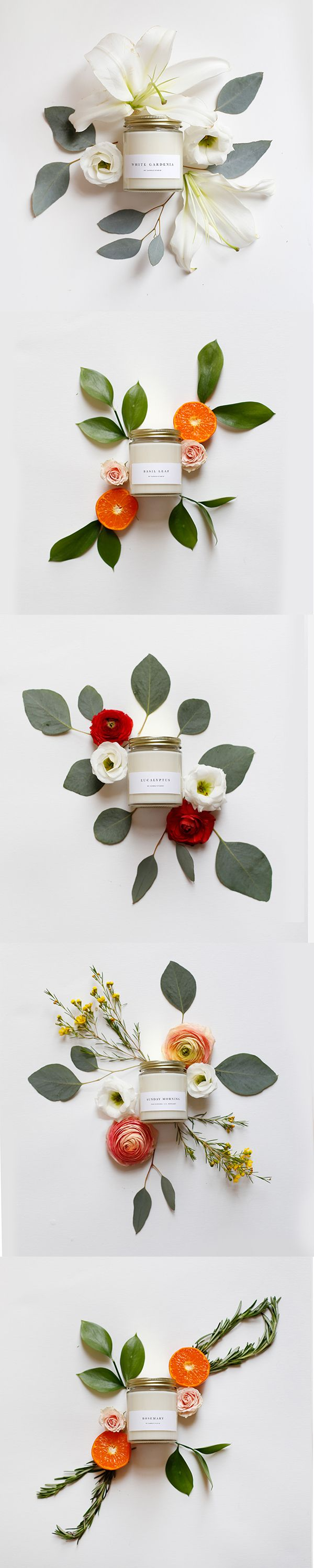 Such a nice idea to present a product differently. Prop Styling - Candles and Flowers // Brooklyn Candle Studio: Photostyling, Styling