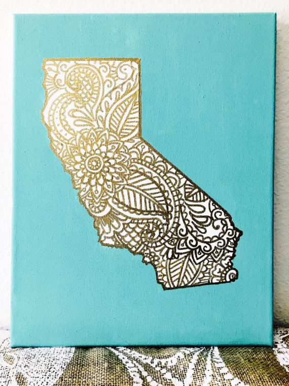 Gold Design Custom State Canvas  California by CaliCanvas on Etsy
