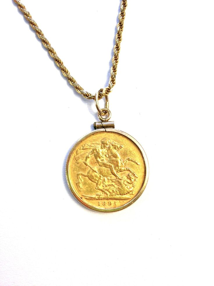 unique coin jewelry -- victorian era British coin -- On one side of the 1895 coin you can see St. Geroge Slaying a Dragon!
